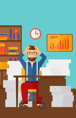 A hipster man in despair sitting at the table and clutching his head in front of heap of papers on the background of business office vector flat design illustration. Vertical layout. Illustration