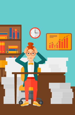 workaholic: A woman in despair sitting at the table and clutching her head in front of heap of papers on the background of business office vector flat design illustration. Vertical layout.