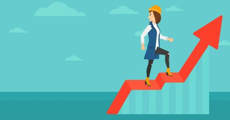 woman looking down: A woman standing on an uprising chart and looking down on the background of blue sky vector flat design illustration. Horizontal layout.