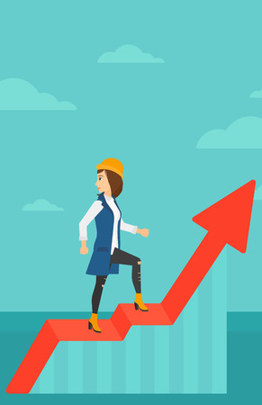 uprising: A woman standing on an uprising chart and looking down on the background of blue sky vector flat design illustration. Vertical layout. Illustration