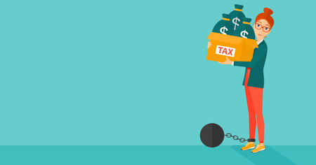 woman holding money: Chained to a large ball woman carrying heavy box with bags full of taxes on a blue background vector flat design illustration. Horizontal layout. Illustration