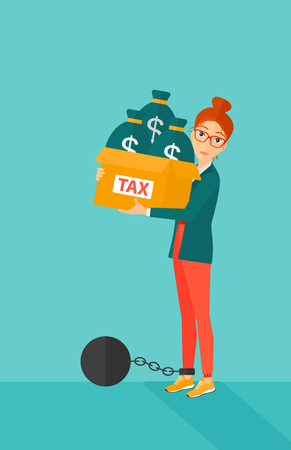 Chained to a large ball woman carrying heavy box with bags full of taxes on a blue background vector flat design illustration. Vertical layout.