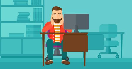 A tired hipster man with the beard sitting at the table in front of computer monitor and clutching his head on the background of business office vector flat design illustration. Horizontal layout.