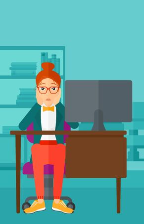 A tired woman sitting at the table in front of computer monitor and clutching her head on the background of business office vector flat design illustration. Vertical layout. Ilustração