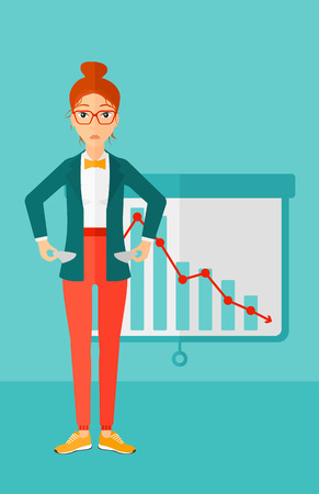 A confused woman showing her epmty pockets on the background of projector roller screen with decreasing chart vector flat design illustration. Vertical layout.  イラスト・ベクター素材