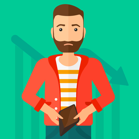 A hipster man with the beard showing his epmty purse on a green background with decreasing chart vector flat design illustration. Square layout.