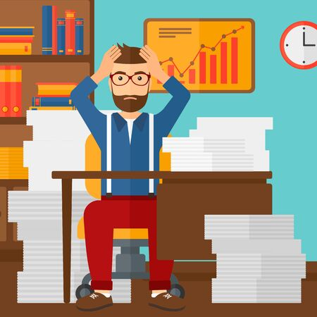 busy beard: A hipster man in despair sitting at the table and clutching his head in front of heap of papers on the background of business office vector flat design illustration. Square layout. Illustration