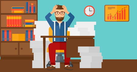 workload: A hipster man in despair sitting at the table and clutching his head in front of heap of papers on the background of business office vector flat design illustration. Horizontal layout.