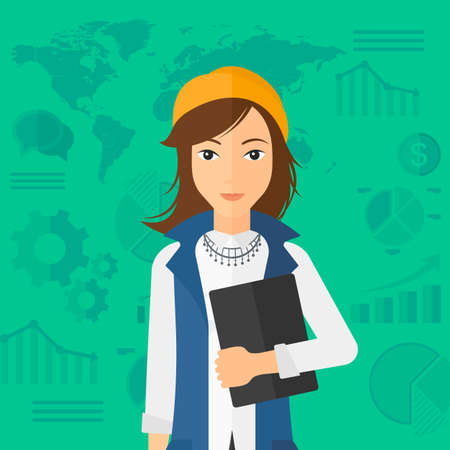 increases: An office clerk holding a file in hand while standing with growing chart and a map on a background vector flat design illustration. Square layout.