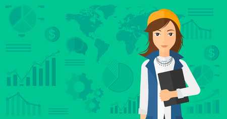 An office clerk holding a file in hand while standing with growing chart and a map on a background vector flat design illustration. Horizontal layout. Çizim