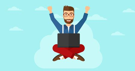 hands raised sky: A happy businessman with raised hands sitting on a cloud with a laptop on the background of blue sky vector flat design illustration. Horizontal layout. Vectores