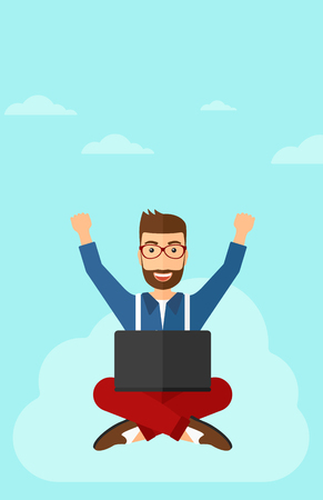 manos levantadas al cielo: A happy businessman with raised hands sitting on a cloud with a laptop on the background of blue sky vector flat design illustration. Vertical layout.