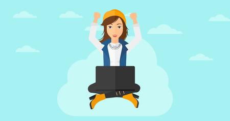 manos levantadas al cielo: Una mujer de negocios feliz con las manos levantadas sentado en una nube con un ordenador port�til en el fondo de cielo azul ilustraci�n vectorial dise�o plano. disposici�n horizontal. Vectores