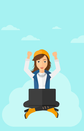 manos levantadas al cielo: A happy business woman with raised hands sitting on a cloud with a laptop on the background of blue sky vector flat design illustration. Vertical layout.