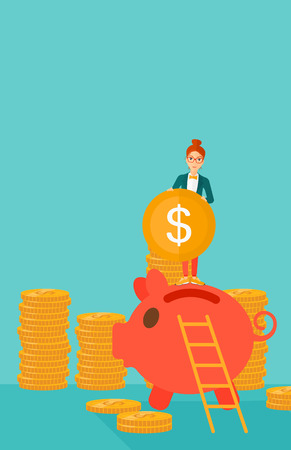 A woman saving her money by putting a coin in a big piggy bank on a blue background vector flat design illustration. Vertical layout. Illustration