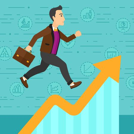 A businessman running along the growth graph on a blue background with business icons vector flat design illustration. Square layout. 版權商用圖片 - 53185879