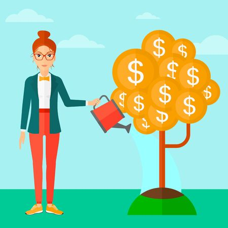 A woman taking care of finances watering a money tree on the background of blue sky vector flat design illustration. Square layout.