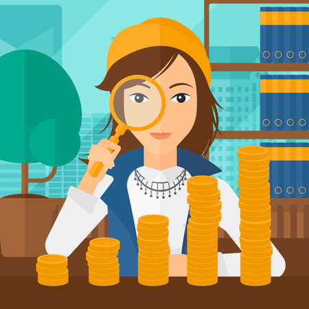 A woman holding a magnifier and looking at stacks of golden coins on the background of panoramic modern office with city view vector flat design illustration. Square layout.