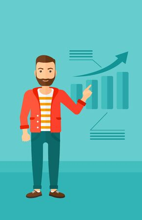 forefinger: A hipster man with the beard showing with his forefinger at increasing chart on a blue background vector flat design illustration. Vertical layout.