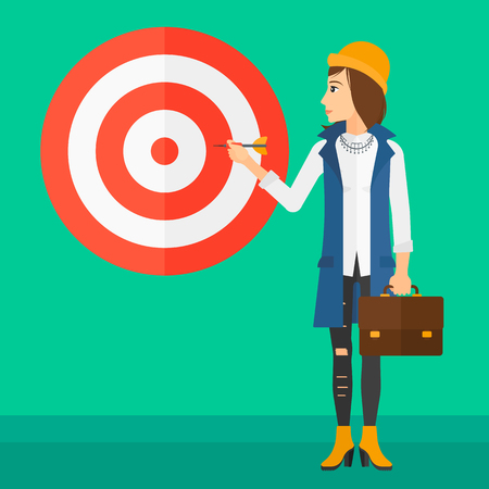 aiming: A business woman standing with arrow in hand and aiming at a target board on a green background vector flat design illustration. Square layout.