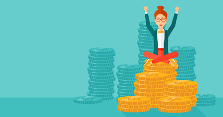 manager: A woman with a happy face and raised hands sitting on golden coins on a blue background vector flat design illustration. Horizontal layout.