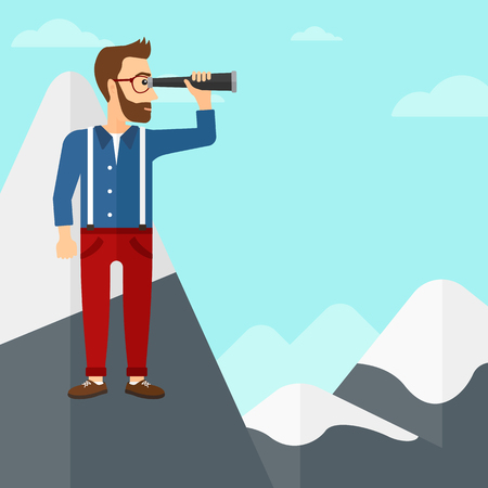 A hipster man with the beard standing on the top of mountain and looking through spyglass on the background of blue sky vector flat design illustration. Square layout.