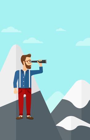 man looking at sky: A hipster man with the beard standing on the top of mountain and looking through spyglass on the background of blue sky vector flat design illustration. Vertical layout.