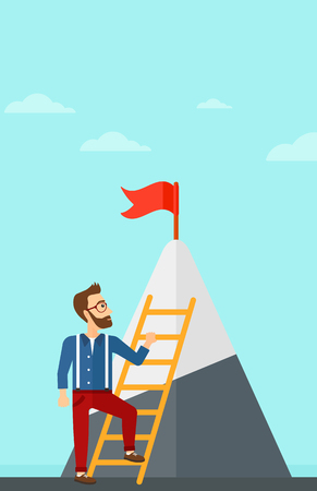 stair climber: A hipster man with the beard holding the ladder to get the red flag on the top of mountain on the background of blue sky vector flat design illustration. Vertical layout. Illustration