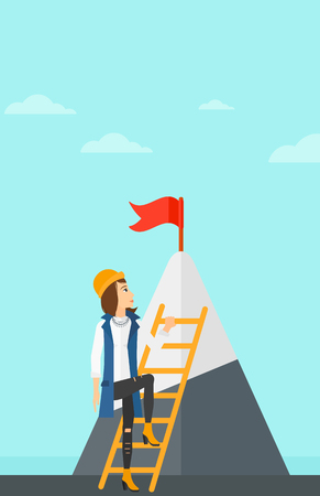 stair climber: A woman holding the ladder to get the red flag on the top of mountain on the background of blue sky vector flat design illustration. Vertical layout. Illustration