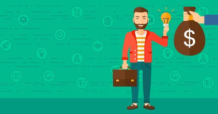 A hipster man with the beard exchanging his idea bulb to money bag on a green background with business and technology icons vector flat design illustration. Horizontal layout.