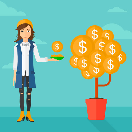 economic growth: A woman catching dollar coin from money tree on the background of blue sky vector flat design illustration. Square layout. Illustration