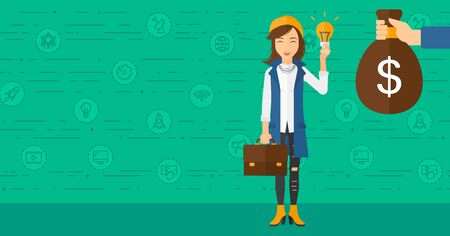 exchanging: A woman exchanging her idea bulb to money bag on a green background with business and technology icons vector flat design illustration. Horizontal layout.