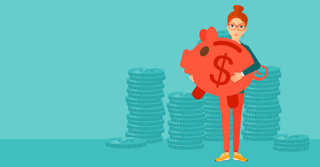 woman holding money: A woman holding a big piggy bank in hands on a blue background vector flat design illustration. Horizontal layout.