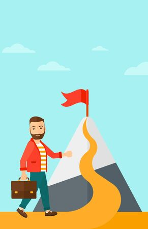 A hipster man with a suitcase in hand standing on a road leading to the top of the mountain with a flag on the background of blue sky vector flat design illustration. Vertical layout. Ilustrace