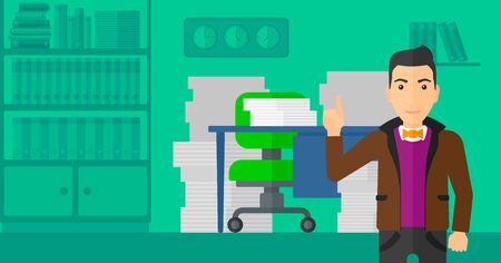 A man pointing up with his forefinger on the background of office workspace with many files on the table vector flat design illustration. Horizontal layout.