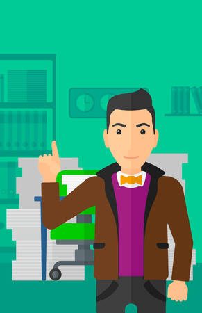 man pointing up: A man pointing up with his forefinger on the background of office workspace with many files on the table vector flat design illustration. Vertical layout.