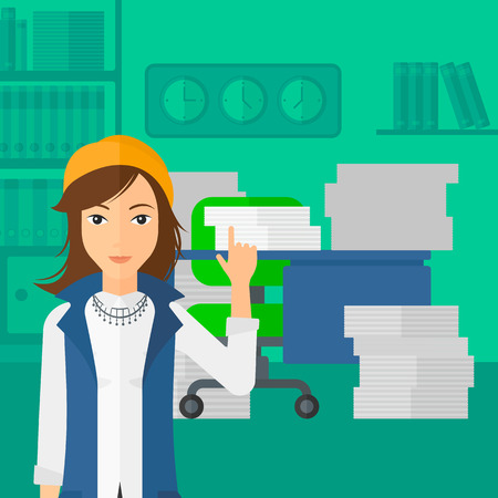 woman pointing up: A woman pointing up with her forefinger on the background of office workspace with many files on the table vector flat design illustration. Square layout.