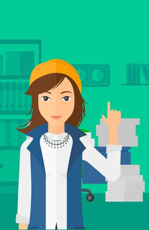 woman pointing up: A woman pointing up with her forefinger on the background of office workspace with many files on the table vector flat design illustration. Vertical layout.