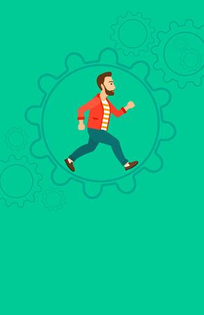 exito: Un hombre inconformista de la barba se ejecuta dentro de una gran rueda dentada en una ilustración de diseño plano de fondo verde vector. disposición vertical. Vectores