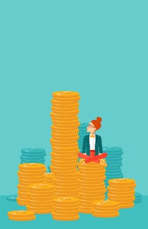 A business woman sitting on stack of golden coins and looking up to the biggest one on a blue background vector flat design illustration. Vertical layout. Çizim