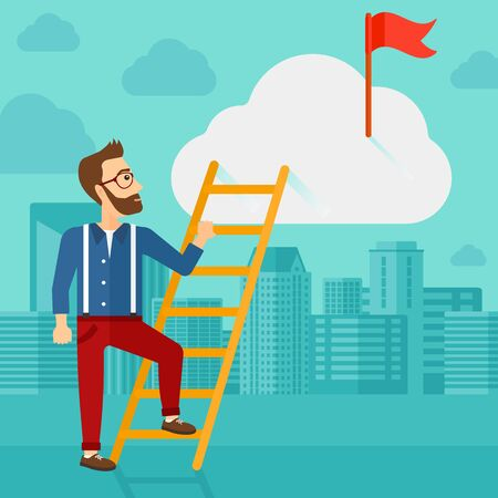 stair climber: A hipster man with the beard holding the ladder to get the red flag on the top of the cloud on the background of modern city vector flat design illustration. Square layout. Illustration