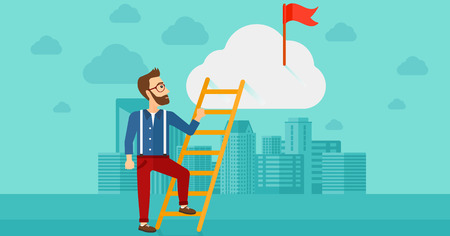 hold high: A hipster man with the beard holding the ladder to get the red flag on the top of the cloud on the background of modern city vector flat design illustration. Horizontal layout. Illustration