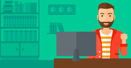 looking at computer: A hipster man with the beard expressing great satisfaction while looking at computer monitor on the background of business office vector flat design illustration. Horizontal layout. Illustration