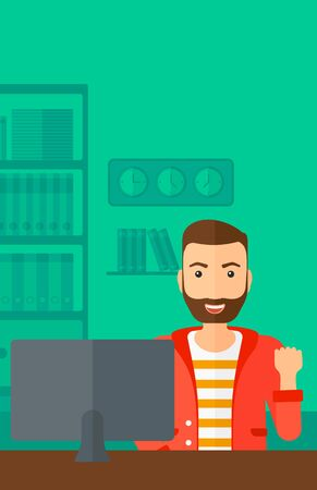 looking at computer: A hipster man with the beard expressing great satisfaction while looking at computer monitor on the background of business office vector flat design illustration. Vertical layout.