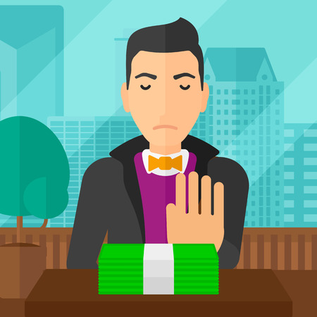 bribe: Man moving dollar bills away and refusing to take a bribe on the background of panoramic modern office with city view vector flat design illustration. Square layout.
