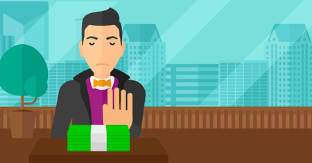 bribery: Man moving dollar bills away and refusing to take a bribe on the background of panoramic modern office with city view vector flat design illustration. Horizontal layout. Illustration