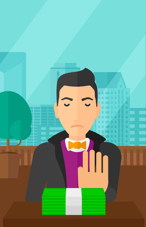 bribery: Man moving dollar bills away and refusing to take a bribe on the background of panoramic modern office with city view vector flat design illustration. Vertical layout.
