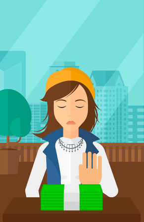 bribery: Woman moving dollar bills away and refusing to take a bribe on the background of panoramic modern office with city view vector flat design illustration. Vertical layout. Illustration