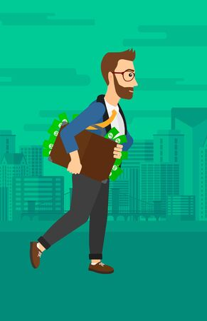 bribery: A hipster man with the beard walking with suitcase full of money on the background of modern city vector flat design illustration. Vertical layout.