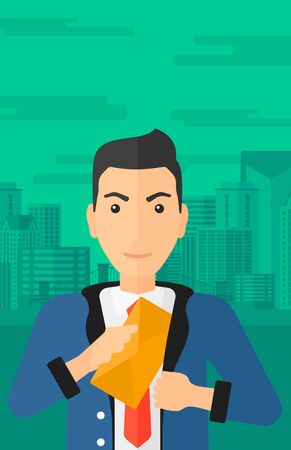 bribery: A businessman putting an envelope in his pocket on the background of modern city vector flat design illustration. Vertical layout.